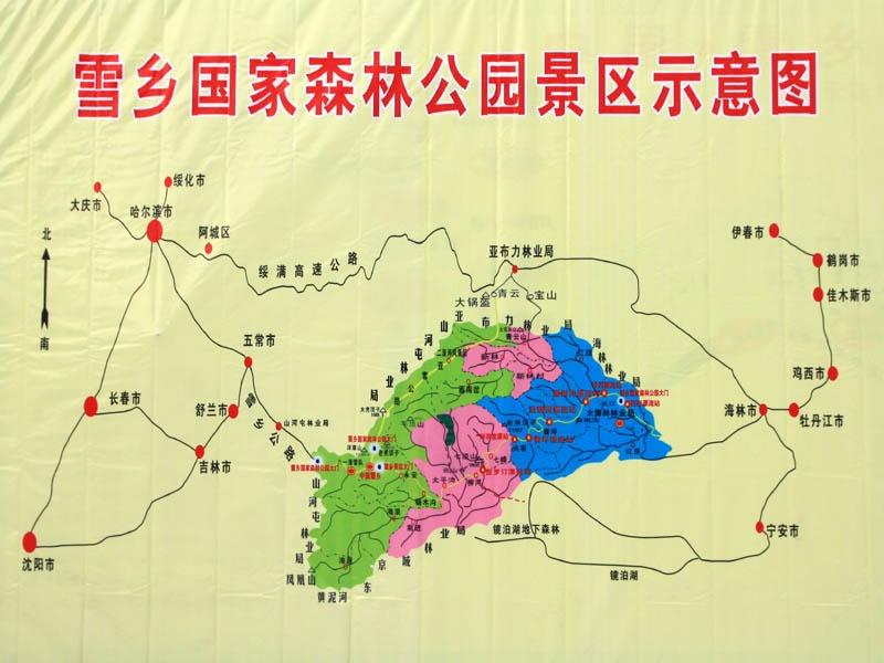 东北雪乡手绘地图