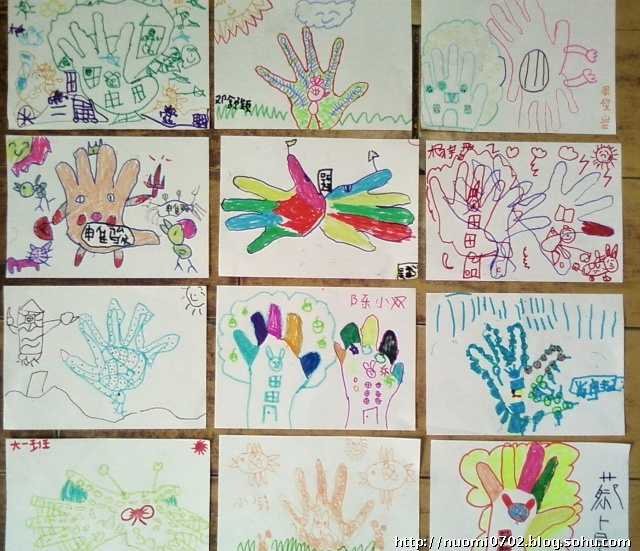 中班幼儿手掌创意画图片大全; 杨老师的教育小屋;