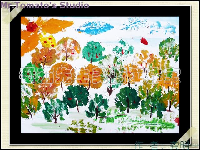 神奇有趣的树叶拓印画