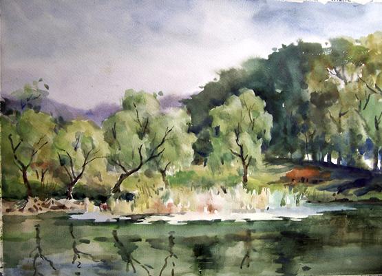 水彩写生——秋天的园林