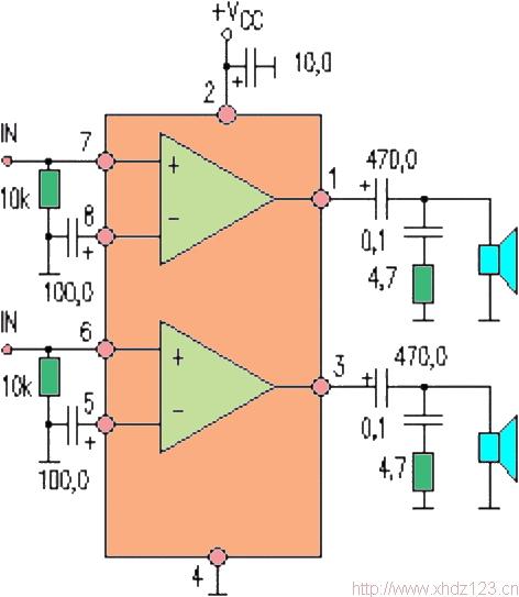 电路可工作于立体声双声道