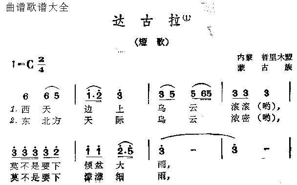 达古拉-曲谱歌谱大全-搜狐博客