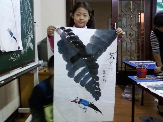 国画/美景国画//芭蕉叶与鸟/蚂蚁部落专业绘画陶艺