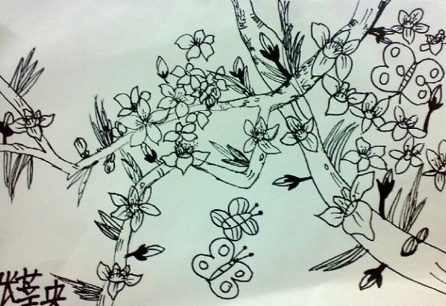 桃花树简笔画 步骤