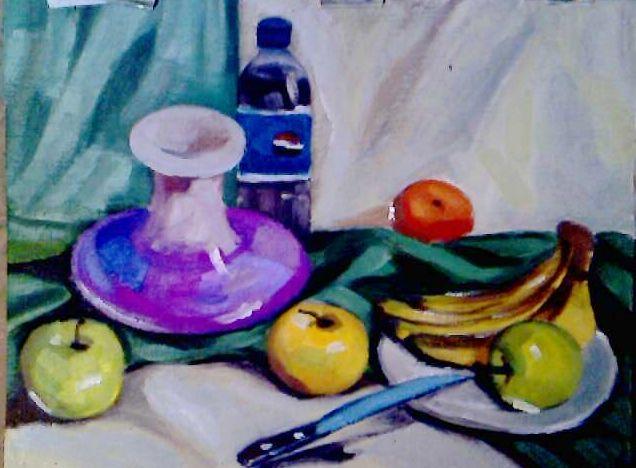 才斗胆将几幅学习油画的小习作发在博上,画得都是果子罐子之类的静物