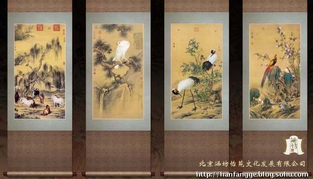 《福禄寿禧》四条屏为宫廷巨匠郎世宁贺乾隆寿诞所