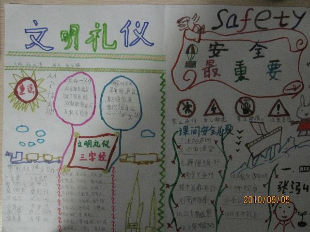 这周末幼儿园里留了两项作业:一是做一份手抄报关于