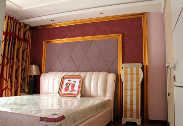 花马骞克 装饰镜框线 硅澡泥 主卧室软包 电视墙搂空造型等 -5万打造