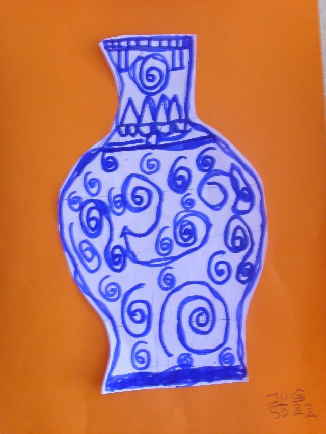 幼儿青花瓷纸盘简笔画