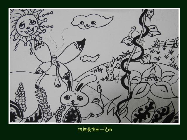 黑白线描花卉素材 eps矢量图 山 .