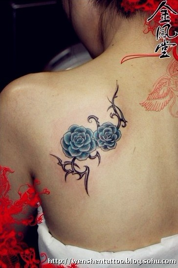 字母纹身 玫瑰花纹身 黑八纹身