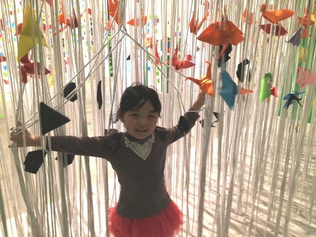 白色的绳子和彩色的千纸鹤的结合