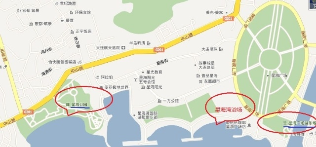 4,海滨浴场     图 大连星海公园和星海广场地图指示