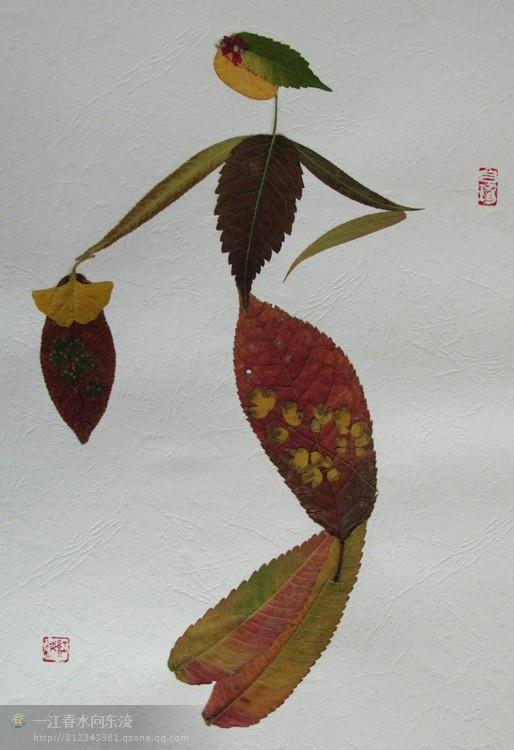 【精品工艺8】奇妙的树叶拼图图片