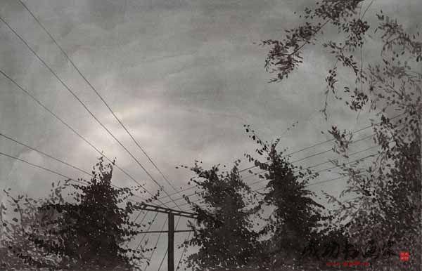 工业污染速写风景