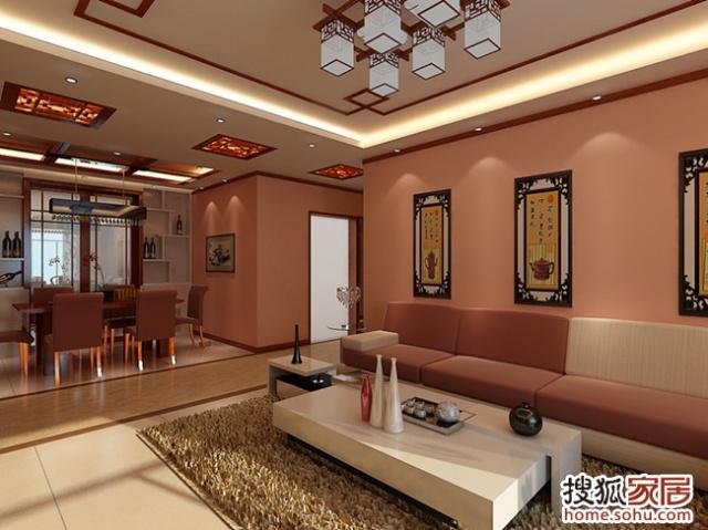 客厅吊顶简洁大方,配以中式木格灯具,更突出一种书香门弟的文化氛围