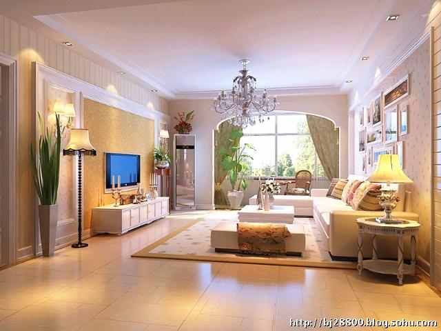 光谷新世界客厅设计效果图 现代简约 90平米二居室装修设计